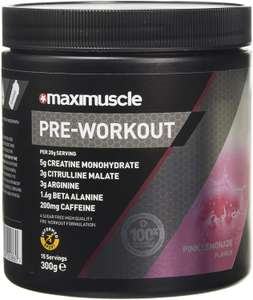 Maximuscle Pre-Workout Pink Lemonade Flavour 330g - £12.79 prime / £17.28 nonPrime / S&S £11.51 + 20% first time coupon at Amazon