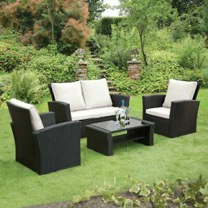 GSD Rattan Garden Furniture 4 Piece Patio Set Table Chairs Grey Black or Brown £279.96 @ ebay gardenstoredirect