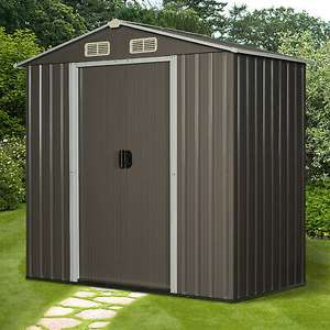 Outsunny 6x4ft Corrugated Metal Garden Storage Shed w/Sliding Door Roof - Grey £159 @ Outsunny ebay