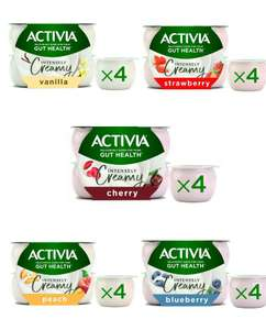 Activia Intensely Creamy Yogurt 4x110g - Strawberry / Peach / Blueberry / Cherry - £1 (+ Delivery Charge / Minimum Spend Applies) @ Asda