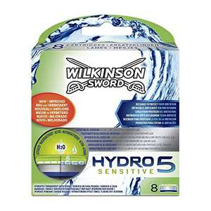 Wilkinson Hydro 5 sensitive 8 blades £13.99 Prime (possibly £10.49 with 20% off voucher for Subscribe and Save / + £4.49 Non-prime) @ Amazon