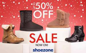 Biggest Ever Half Price Sale Now On - Up To 50% Off + Free Delivery + £5 OFF £25 Spend by Joining Shoezone Club @ Shoe Zone