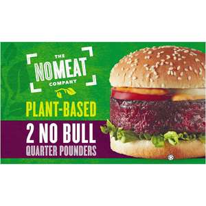 The No Meat Company Plant-Based 2 No Bull Quarter Pounders Burgers 2 x 113g (226g) 2 for £3 @ Iceland