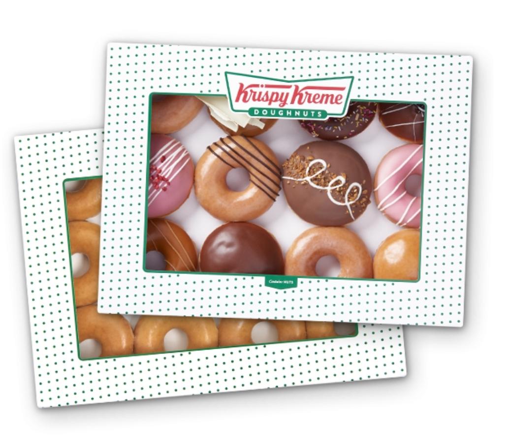 Buy one dozen get an original glazed dozen for £1 on Saturday until Feb 20th £11.45 via Krispy Kreme Shop