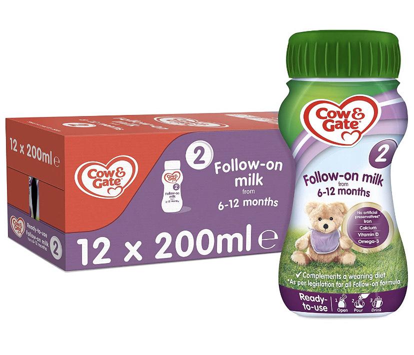Cow & Gate Follow On Milk, 200ml (Pack of 12) 75p (+£4.49 Non-prime) @ Amazon