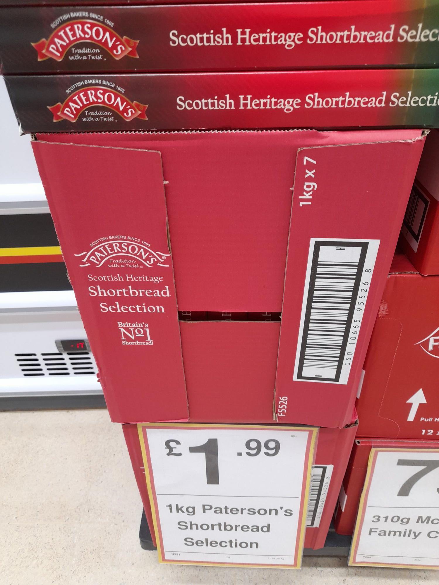 1kg Paterson's Shortbread Selection £1.99 Farmfoods, Littlehampton