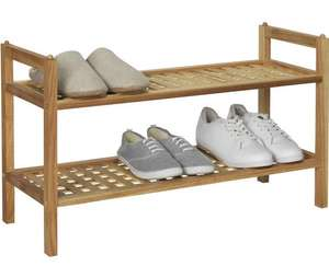 Home 2 Tier Stackable Shoe Rack - Walnut £15.99 delivered @ Argos