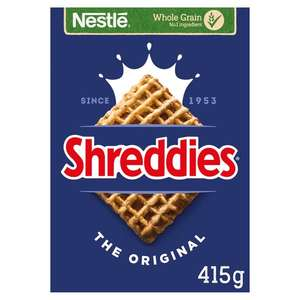 Nestle Shreddies Original Cereal 415G £1.05 (Clubcard Price) (+ Delivery Charge / Minimum Spend Applies) @ Tesco