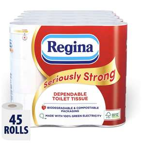 Regina Seriously Strong Toilet Tissue 45 Rolls £22.50 / £14.62/13.49 with S&S, @ Amazon