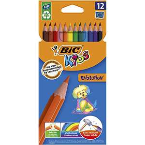 BIC Kids Evolution ECOlutions Colouring Pencils, Assorted Colours x 12 * £1.50/£1.43 Subscribe & Save (+£4.49 NP) @ Amazon