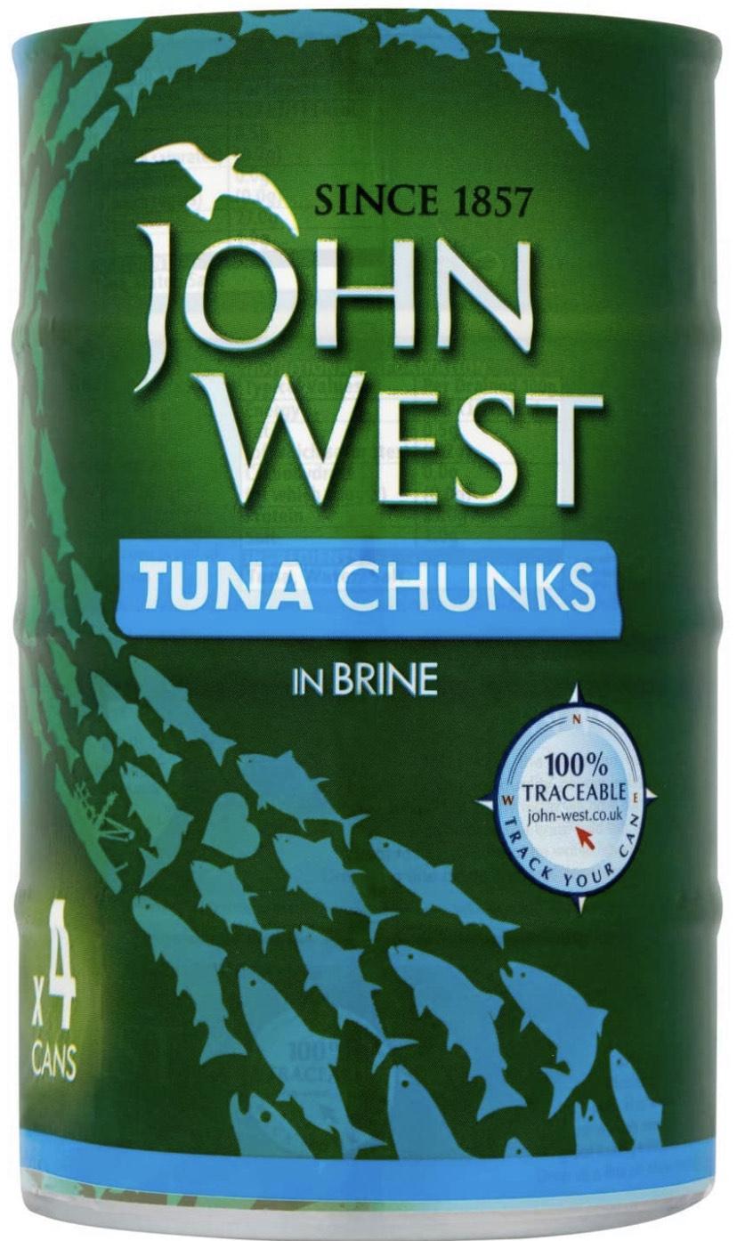 John West Tuna Chunks in Brine, 4 x 145g £2.97 + £4.49 NP @ Amazon