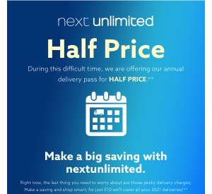 Next unlimited half price for the rest of 2021 £10 (Next Credit Account Holders) @ Next