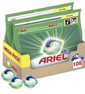 Ariel All-in-1 Pods, Washing Liquid Laundry Detergent Tablets/Capsules, 108 Washes (54 x 2) - £18 (+£4.49 Non-Prime) @ Amazon