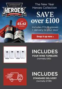 Heroes Collection 12 wines & 4 free glasses £65 @ Laithwaite's Wine Plan - new customers