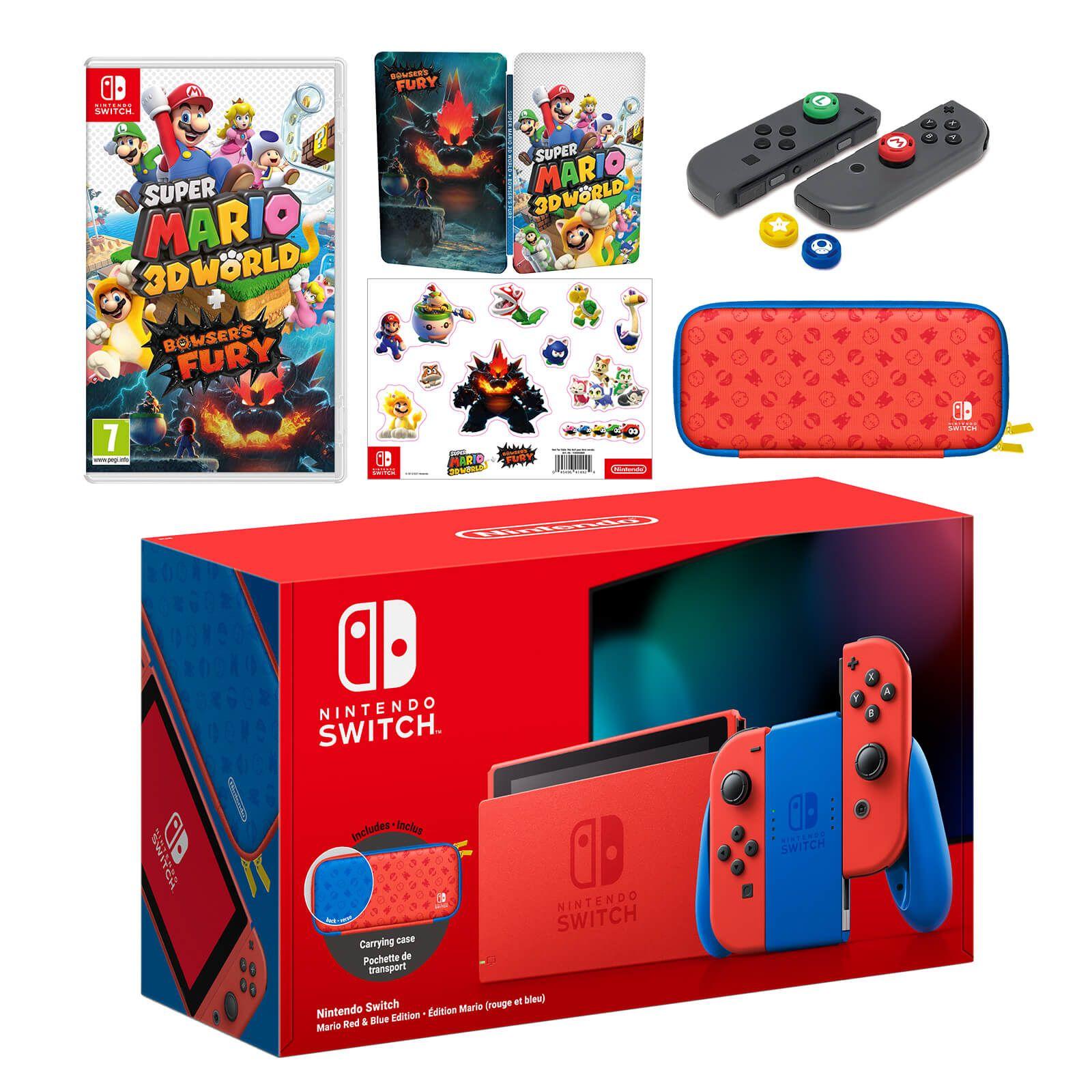 Nintendo Switch Mario Red & Blue Edition + Super Mario 3D World + Bowser's Fury Pack + Analog Stick Caps - £329.99 @ Nintendo Store