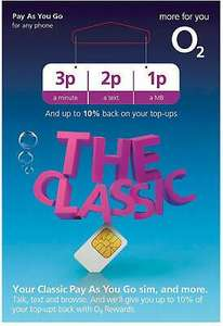 O2 Classic PAYG (3p, 2p, 1p) SIM Cards - 20p Delivered @ eBay 20psimcards