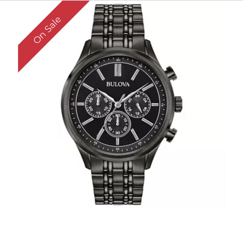 Bulova Chronograph Men's Black PVD Plated Bracelet Watch £110.99 H Samuel