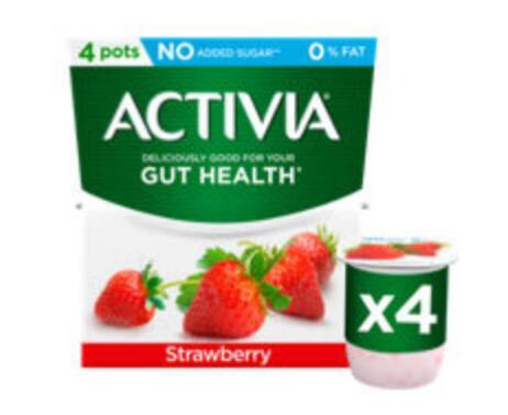Activia yogurt 4 x 120g - Strawberry / Fat Free Strawberry/ Rhubarb / Peach / Vanilla 95p (+ Delivery Charge / Min Spend Applies) @ Asda