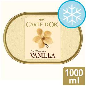 Carte D'or Ice Creams 900ml / 1000ml (All Flavours) £2 Clubcard Price (Min Spend / Delivery Charge Applies) @ Tesco