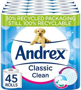 Andrex Classic Clean Toilet Tissue, 45 Toilet Rolls £17.50 with prime (+£4.49 non prime) @ Amazon