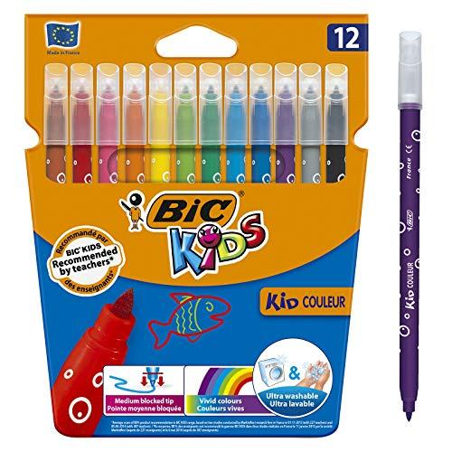 BIC Kids Kid Couleur Felt Tip Colouring Pens - Assorted Colours, Cardboard Wallet of 12 - £2 prime /£4.49 non Prime @ Amazon