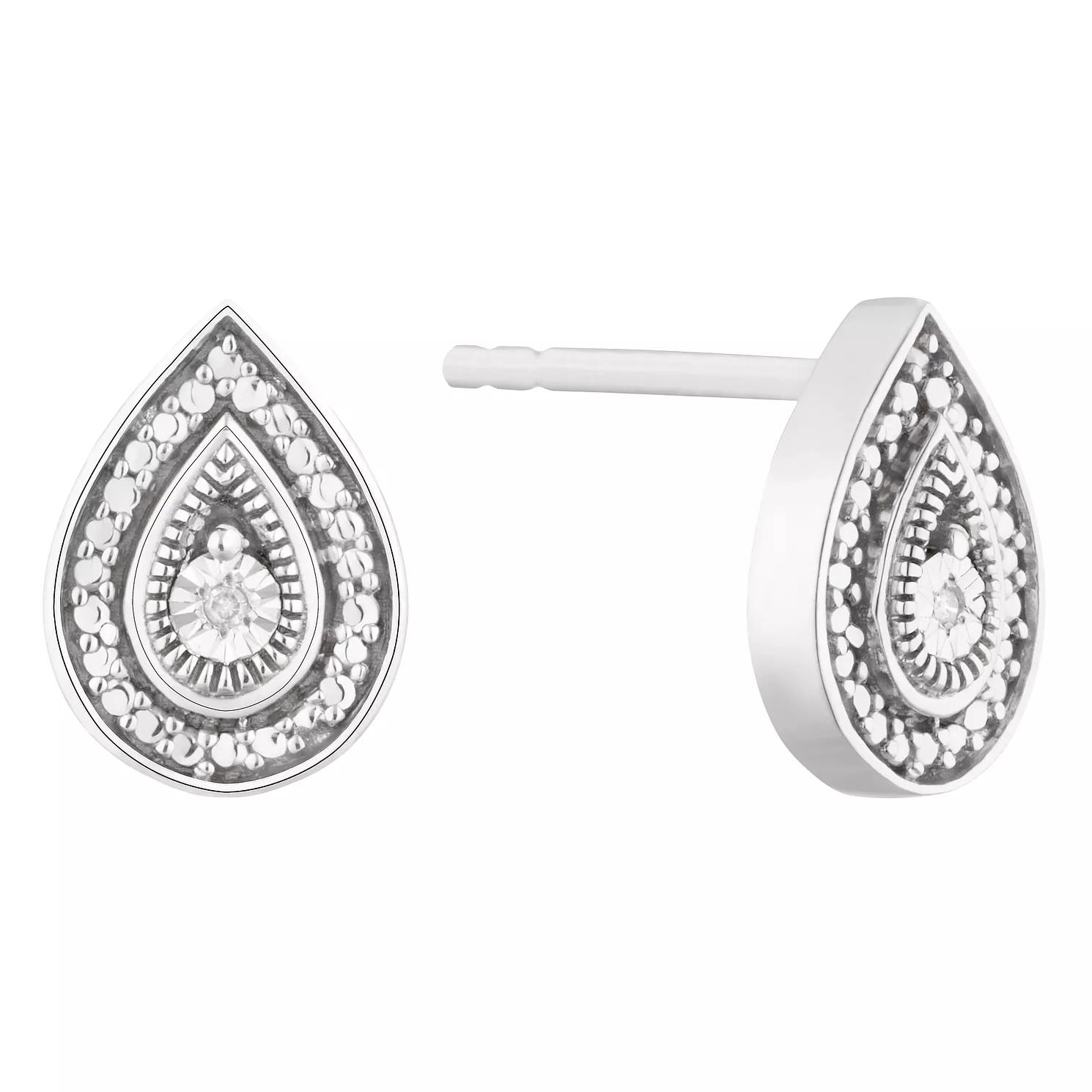 Silver Diamond Fancy Pear Stud Earrings @ H Samuel - Now £23.20 with code JANSALE