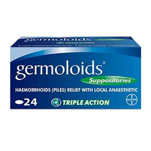 Germoloids Hemorrhoid Treatment & Piles Treatment Suppositories 24 pack - £4.90 (+£4.49 Non Prime) @ Amazon