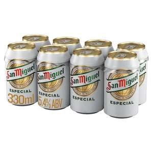San Miguel Premium (5.4%) Beer eight 330ml cans £5 (Min Spend / Delivery Fee Applies) @ Tesco