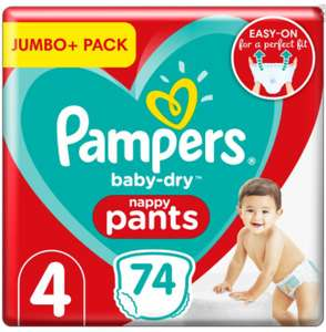 Pampers Baby-Dry Nappy Pants Size 4 9-15kg Jumbo+ Pack 74 per pack - £5.99 (+ Delivery Charges / Min Spend Applies) @ Morrisons
