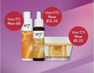 No 7 Daily Deal - 33% Off Radiance Range (Eye Mask, Cream, Toner etc.,) - Delivery £3.50/Free Over £30 @ Boots