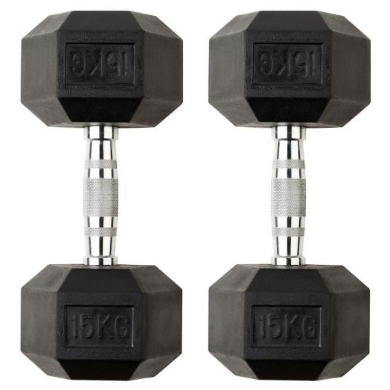 Hex dumbbells - 15kg pair £79.95 / 3kg pair £19.95 / 1kg pair £7.95 + £4.95 delivery at Mirafit