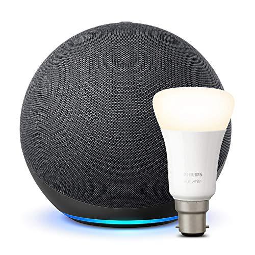 Amazon Echo (NOT DOT)4th generation Charcoal + Philips Hue White Bulb B22 - £69.99 Amazon