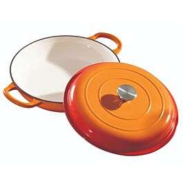 Robert Dyas Cast Iron orange enameled 32cm shallow casserole dish with lid for £44.94 delivered @ Rober Dyas