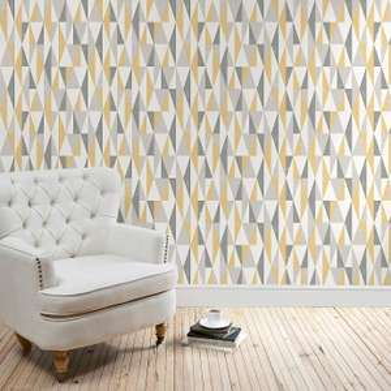 Dunelm Triangle Ochre Wallpaper £7.50 per roll) for £11.45 delivered @ Dunelm