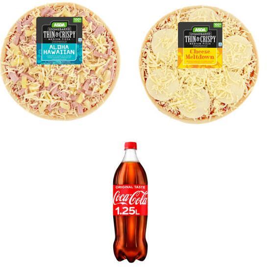 2 x Medium Pre Made Deli Pizzas + Coke /Fanta Bottle 1.25l +(Instore) Sky Movie Rental Worth £5.49 (Min Spend / Delivery Charge) £5 @ Asda