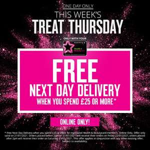 Free Next Day Delivery when you spend £25 spend online at Superdrug - Beauty card members