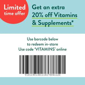 Holland & Barrett Buy 1 Get 1 for 1p + 20% Code off Vitamins &Supplemments