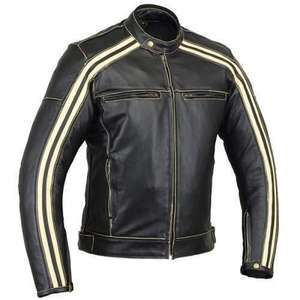 Bikers Gear Australia 'The Bonnie' Cowhide Leather Motorcycle Jacket with Removable Armour - Ivory stripe 6XL - £61.97 @ Amazon