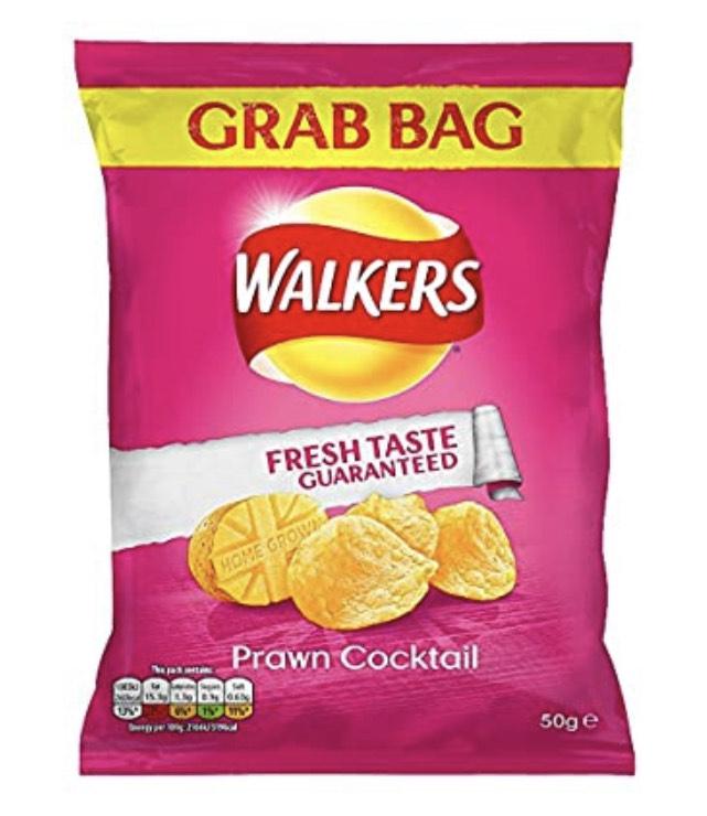 Walkers Prawn Cocktail Grab Bag Crisps 50G (Case of 32) £8.85 + £4.49 NP @ Amazon