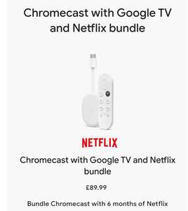 Chromecast with Google TV and 6 months Netflix - £89.99 / £81.99 with Amex cashback + free delivery @ Google Store