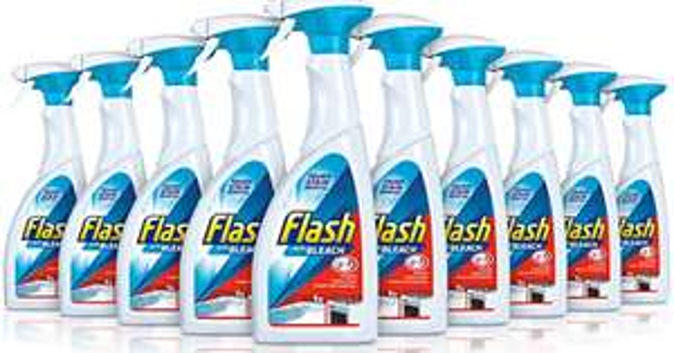 Flash Multi-Purpose Spray Bleach for Hard Surfaces, 450 ml, pack of 10 £6.38 (+£4.49 Non-Prime) @ Amazon