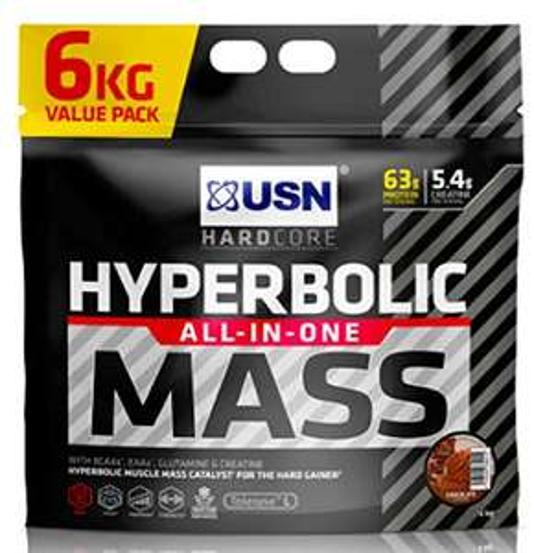 USN Hyperbolic Mass Choc or Strawberry 6 kg: All-In-One Mass Gainer Protein Powder - £24.99 @ Amazon