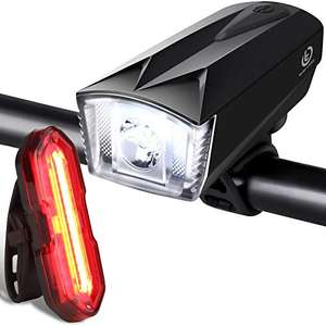 Techole Rechargeable Bike Light Set - 300LM Front Headlight & 100LM Tail Light £13.59 (+£4.49 NP) Sold by AmSin & Fulfilled by Amazon