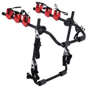 HOMCOM Foldable 3-Bike Carrier Rack-Black/Red £34.80 with Free Delivery From Homcom Fruugo