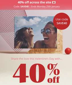 40% off site wide including framed prints and canvasses with code at Photobox