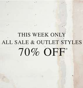 70% off All Sale and Outlet Fashion + Free Delivery for Prime Members using Amazon Pay (otherwise £3.95) @ AllSaints