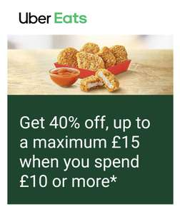 40% off McDonald's with code (min spend £10 max discount £15 + £3.99 delivery fee - select accounts) @ Uber Eats