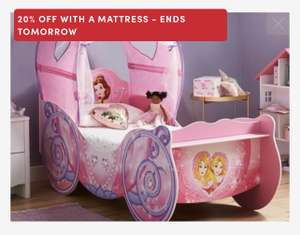 Disney Princess Carriage Toddler Bed Frame with Canopy + Mattress - £248.20 @ Dreams