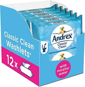 Andrex Classic Clean Washlets Moist Toilet Tissue, certified 'Fine to Flush', 12 packs £11.40 Amazon Prime (+£4.49 Non Prime)