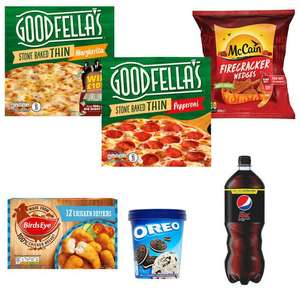 Meal deal - Pepsi Max 1.5L + 2 x Goodfella's Pizzas + Chicken Dippers + Wedges + Ice cream = £5 (+ Del Charge / Min Spend Applies) @ Iceland